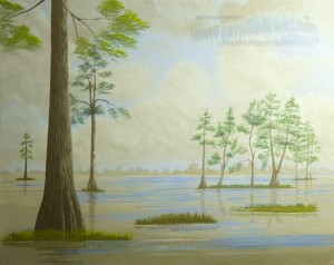 painting for fun, cypress trees